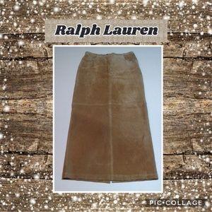 🆕️Ralph Lauren Tan Leather Maxi Skirt